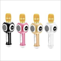 Wholesale Neon Wireless - M8 USB Microphone KTV Karaoke Handheld Mic Speaker Wireless Microphone Microphone for IOS Mobile Phones iPad PC With Flash LED Neon Light