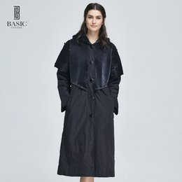 Wholesale Trench Coat Women Basic - Wholesale- Basic Editions Women Spring Buttons Accordion Pleated Fabric Hood Long Trench Coat - MA1055-002