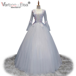 varboo-elsa 2017 Sexy Perspective Evening Dresses Silver Tulle 3D Applique Prom  Dress Long Sleeve Back Hollow-Out Party Ball Gown Dress e885e7fa6299
