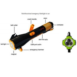 Wholesale Radio Flashlights - Flashlights 9 In 1 Multifunctional Car Emergency Flashlight,lighting+mobile Charging+alarm+radio+compass+rain Proofing+safety Belt Cutting