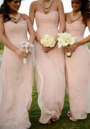 Wholesale Long Blush Chiffon Gowns - 2015 Blush Pink Long Chiffon Cheap Bridesmaid Dresses Hand Pleated Back Zip Summer Garden Beach Bridesmaid Gowns Formal Gowns ZC