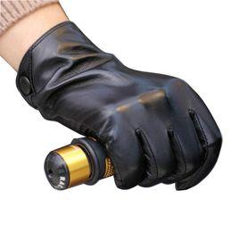 Wholesale Thin Black Leather Gloves - Wholesale-New Fashion Concise Style Winter Man Sheet Buckles Leather Gloves Male Warm Leather Gloves In Thin Sheepskin Gloves Black