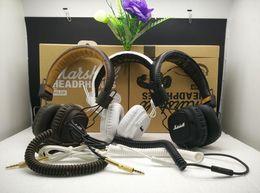 Wholesale Hi Box - Marshall Major Headset With Mic Great Bass DJ Hi-Fi Headphones HiFi Earphones Professional DJ Monitor Headphones 3 Colors with Retail Box