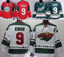 Wholesale Discounted Hockey Jerseys - 2016 New, Best Quality Minnesota Wild Jersey #9 Mikko Koivu Home Red White Road Green Alternate Discount Cheap Mens MN Wild Hockey Jer