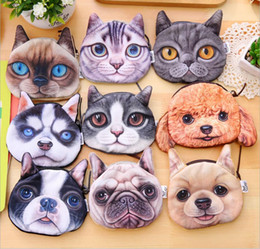 Wholesale Gift Card Printing - Cartoon 3D Cats Dogs Children Plush Coin Purse Zip Coin Bag Wallet Kids Girl Women For Gift