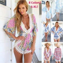 8766bbf6123b New Fashion Beach Wear Lace Floral Shorts Jumpsuits Playsuits Summer Sexy  Long Sleeve Shorts Romper Floral Print Bodysuit Overalls 6025