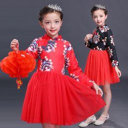 Wholesale Girl Character Costume - Autumn and winter baby girls clothes Chinese style girls TUTU dress Kids velvet dress princess cheongsam performance costume