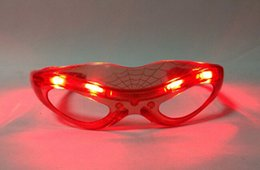 Wholesale Dance Costumes Male - LED Spiderman Glasses Flashing Glasses Light Party Glow Mask Halloween Night Light for Dancing Birthday costume ball Kids gift 201504LY