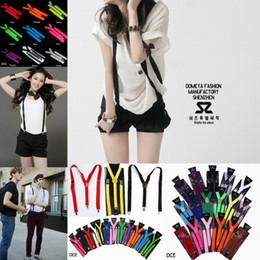 Wholesale Man Suspenders - Women Men Clip-on Elastic Suspenders Adjustable Y-Shape Solid Color Braces Dress Suspenders 9 Colors Choose DCE*1