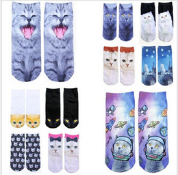 Wholesale Cartoon Slippers Men - 10 colors hot sale new style women 3d cartoon cat printed animal food Crew Socks for women cutes