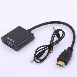 Wholesale Jack Box Shipping - HDMI to VGA with 3.5mm Jack Audio Cable Video Standard Converter Adapter For TV Xbox 360 PS3 PC Laptop DVD Free Shipping