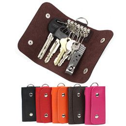 Wholesale Cars Key Leather Case - Fashion gifts Keys holder Organizer ger patent leather Buckle key wallet case car keychain for Women Men brand free shipping