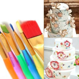 Wholesale Diy Ceramic Paint - Wholesale- New Style 6Pcs Fondant Cake Decorating Painting Brush Sugar Craft Diy Tool Flower Modeling Kitchen Accessory