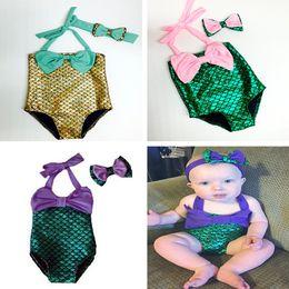 Kleiner meerjungfrau badeanzug online-Baby-Kleidung-Kind-Mädchen-Badebekleidung Little Mermaid Bikini-Satz-Sommer-Strand-Badeanzug mit Bowknotstirnband Mädchen Badeanzug Badeanzug