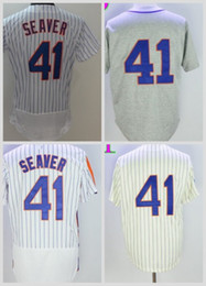 Wholesale 1969 Baseball - Wholesale 41 Tom Seaver Jersey 2016 Flexbase 25th Baseball New York Baseball Jerseys 1969 Grey Cream Pullover White Pinstripe