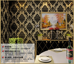 Wholesale moisture meter paper - 5.3sqm Classic wall paper home decor background European wall damask wallpaper black floral wallcovering 3d velvet wallpaper