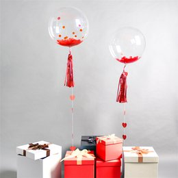 Wholesale Pvc Balloons - 24inch Transparent PVC balloons Birthday Wedding decorations No Wrinkles Piece Inside Sweet Badroon Christmas Evening Party Big Balloon