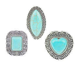 Wholesale Tibetan Wedding Ring - Bohemian Tibetan Silver Turquoise Rings Geometric Rectangle Oval Heart Ring Fashion Jewelry For Women Girl Party Wedding Wholesale 12 Pcs