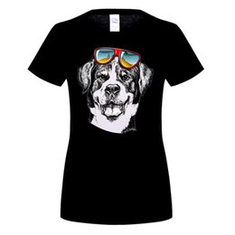 Wholesale T Shirt Boy Dog Fashion - 2017 Fashion woMen's Summer Casual Tops Cool Dog Printed T Shirt White Male Boy Tops Hipster Style Tees O Neck pa915