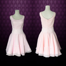 Wholesale China Made Dresses For Sale - Pink Short Mini Party Dresses A Line Pearls Beaded Scooped Neck Chiffon Prom Gowns Inspired by Dirty Dancing China Cheap For Sale Real Image