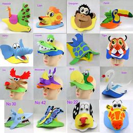 Wholesale Eva Hats - 2017 New arrival DIY 3D animals cartoon hat EVA foam cartoons mask for children's party 5 pcs lot mix design