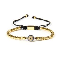 Wholesale fashion bracelet connectors - Ailatu Fashion Jewelry Wholesale 10pcs lot 4mm Copper Beads With Micro Pave Blue CZ Eye Connector Macrame Bracelet Gift