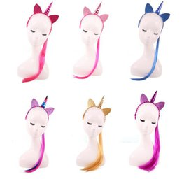 Wholesale Wholesale Accessories For Girls - Rainbow Color Unicorn Headbands With Ponytail Glitter Ears For Kids Wig Braid Hair girls Hairband Hair Accessories Party Decoration