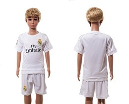 Wholesale Cheap Boys White Suits - 15-16 Soccer Kids Real Madrid Home Jerseys Youth Soccer Wears Cheap Soccer Uniforms Kids Soccer Shirts and Shorts Sports Suits Hot Sale