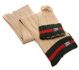 Wholesale Cotton Yarn Patterns - Brand designer Winter hat scarf sets for men women warm knitted five colors Hats & Scarves Sets U pattern sets