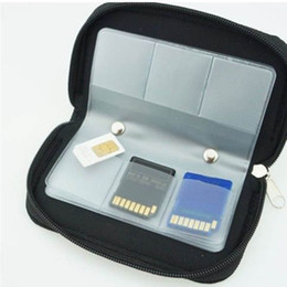 Wholesale Order Micro Sd - 22 SDHC MMC CF Micro SD Memory Card Storage Carrying Pouch Case Holder Black order<$15 no tracking