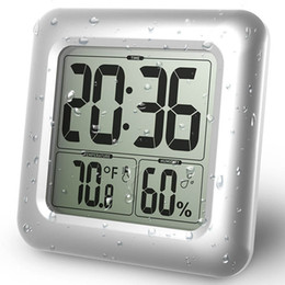 Wholesale Thermometer Big - New Arrival Baldr Fashion Waterproof Shower Time Watch Digital Bathroom Kitchen Wall Clock Silver Big Temperature and Humidity Display