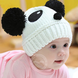 Wholesale Winter Kids Panda Hat - Children Baby Kids Hat Cartoon Winter Hat Panda Ball Knitted Crochet Beanie Cap