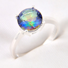 Wholesale Mystic Stone Rings - 10 Pieces 1 lot LuckyShine Classic Round Rainbow Mystic Topaz Crystal Gems 925 Sterling Silver Rings Russia American Australia Crown Rings
