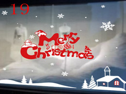 Wholesale Outdoor Christmas Displays - DHL Free Shipping Christmas window stickers Snowflake Santa window display Without glue electrostatic incognito Wall Sticker