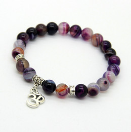 Wholesale Agate Bead Bracelets - New Arrival Jewelry Sets 8mm Beaded Natural Purple Agate Stone Beads OM, Hamsa Yoga Braclets, Best Gift for men and women