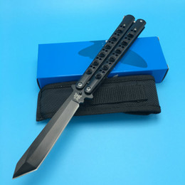 Wholesale Gift Box Knife - Benchmade BM47 Butterfly Black Edition Balisong Spring Latch Outdoor Tactical gift knife knives new in original box BM42 43 41 47 3300 3350