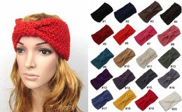 Wholesale Embroidered Headbands - PrettyBaby corn knitted Women Lady Crochet Bow Knot Turban Knitted Head Wrap Hairband Winter Ear Warmer Headband Hair Band Accessories