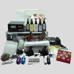Wholesale Tube Inks Tattoo - Basekey Complete Tattoo Kit 4 Gun Machine With Power Supply Grips Back Stem Tube Ink Needles 404