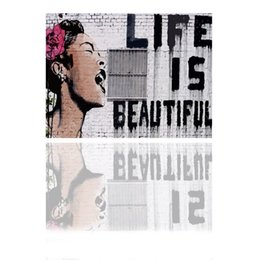 Wholesale Life is Beautiful Banksy Art Original Print on Canvas Graffiti Banksy Wall Art banksy canvas prints canvas art picture