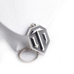 Wholesale Enamel Metal Ring - Metal Alloy WOT WORLD OF TANKS ICON VIDEO GAME BRASS PENDANT keychain black enamel key rings