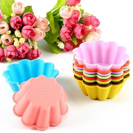 Wholesale mini baking cups - flower silicone cake mold 10 colors 7.5CM FDA silicone baking cups Mini Muffin cup pudding cups