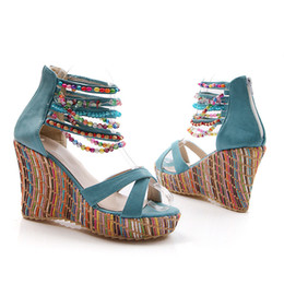 Wholesale Beaded Platform Sandals - 2017 Europe and the United States the new West Asia slope with handmade beaded large size sandals women's platform shoes