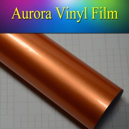 Wholesale High Gloss Vinyl - 1.52x20m(5x65ft) high Gloss glossy Metallic car wrap Vinyl sticker sheet air bubble free for car body wrap orange