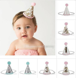 Wholesale Princess Birthday Hats - baby crown Headbands cone shape Hairband Kids glitter Birthday Headbands party supplies princess tiara Hat boutique hair accessories
