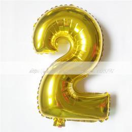 "Wholesale Christmas Foil Balloons - Wholesale-1pcs 16'' Cute Silver Gold number ""2"" Foil Ballon Helium Balloon New Year Birthday Christmas party Wedding Decoration Ballon"