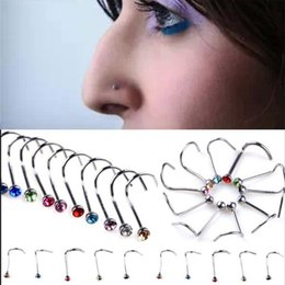 Wholesale Nose Surgical - Wholesale Bulk 30 pcs Surgical Steel Crystal Nose Bone Stud Body Piercing Jewelry Free Shipping[ BB30*100]