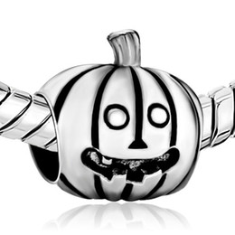 Wholesale Pandora Pumpkin Bead - 2016 Halloween Pumpkin Cute smile Face bead Jackolantern charm in Rhodium Plating European Fits Pandora DIY Bracelet