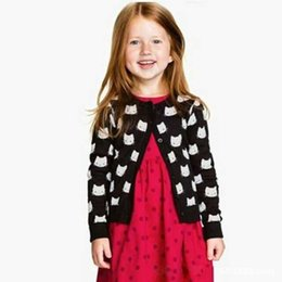 Wholesale Cat Cardigans - Europe and America cat sweater for girl knitted girls cardigan kids girls clothing sweater long sleeved cardigan girls free shipping
