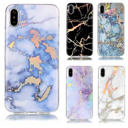Wholesale Soft Silicone Tpu Gel Case - Metallic Marble Rock Soft TPU IMD Case For Iphone X 8 7 Plus 6 6S Plus SE 5 5S Galaxy S9 S8 Gel Chromed Natural Stone Chromed Plating Cover
