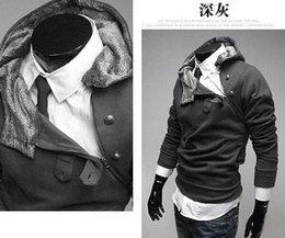 Wholesale Monde Hoodie - 2015 new HOT monde Korea Men's Hoodie Sweatshirts Rabbit Hair Collar Oblique Zipper plus size Men's Jacket men's Coats men's outwear black
